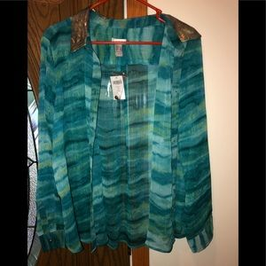 Chico's sheer button down top